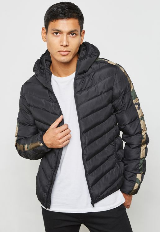 Black Pp Padded Hooded Jacket