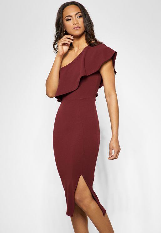 One Shoulder Side Slit Bodycon Dress