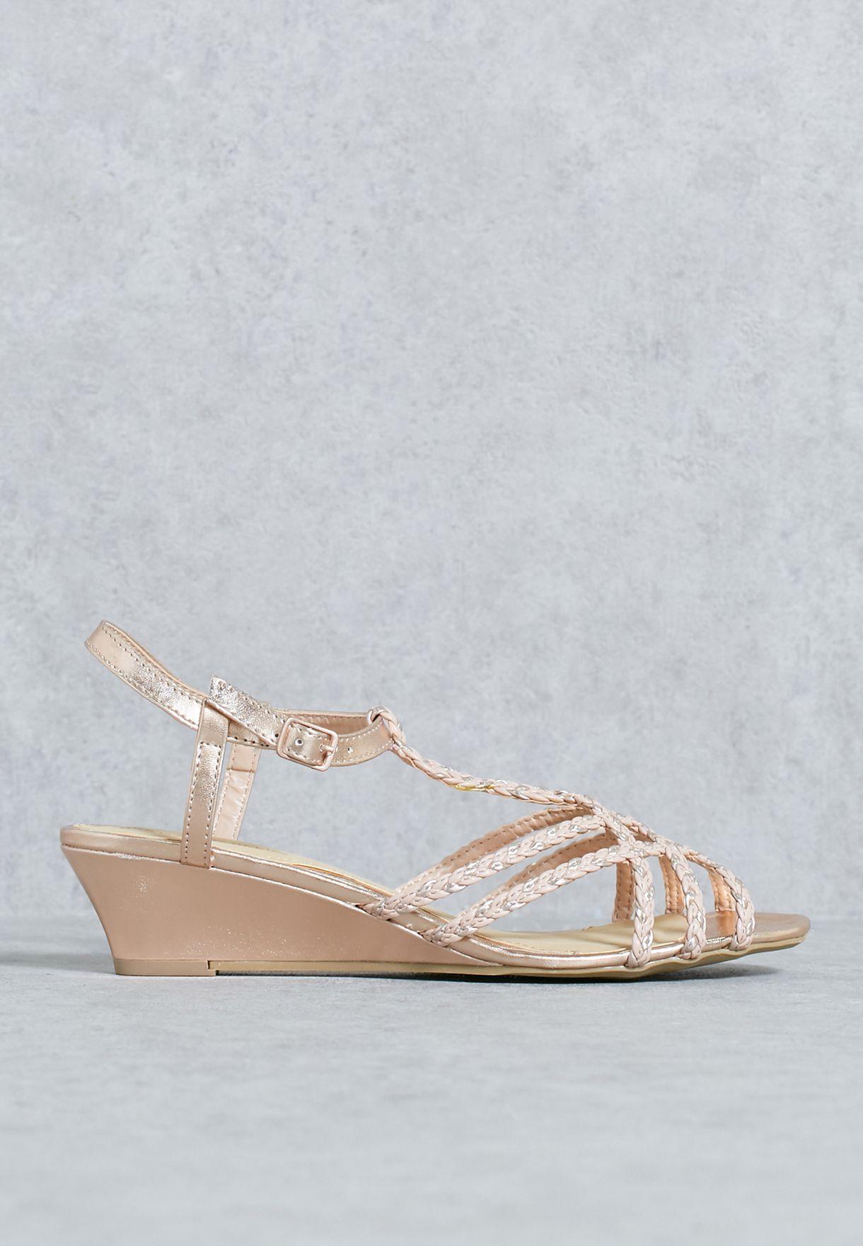 5724dd64672 Shop Dune Head Over Heels pink Blush Braided Wedge Sandals ...