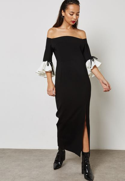 Contrast Ruffle Bardot Slit Maxi Dress