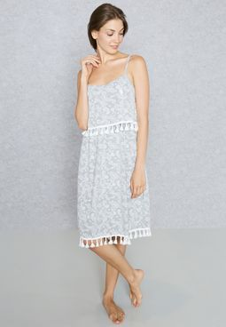 Printed Pom Pom Nightdress