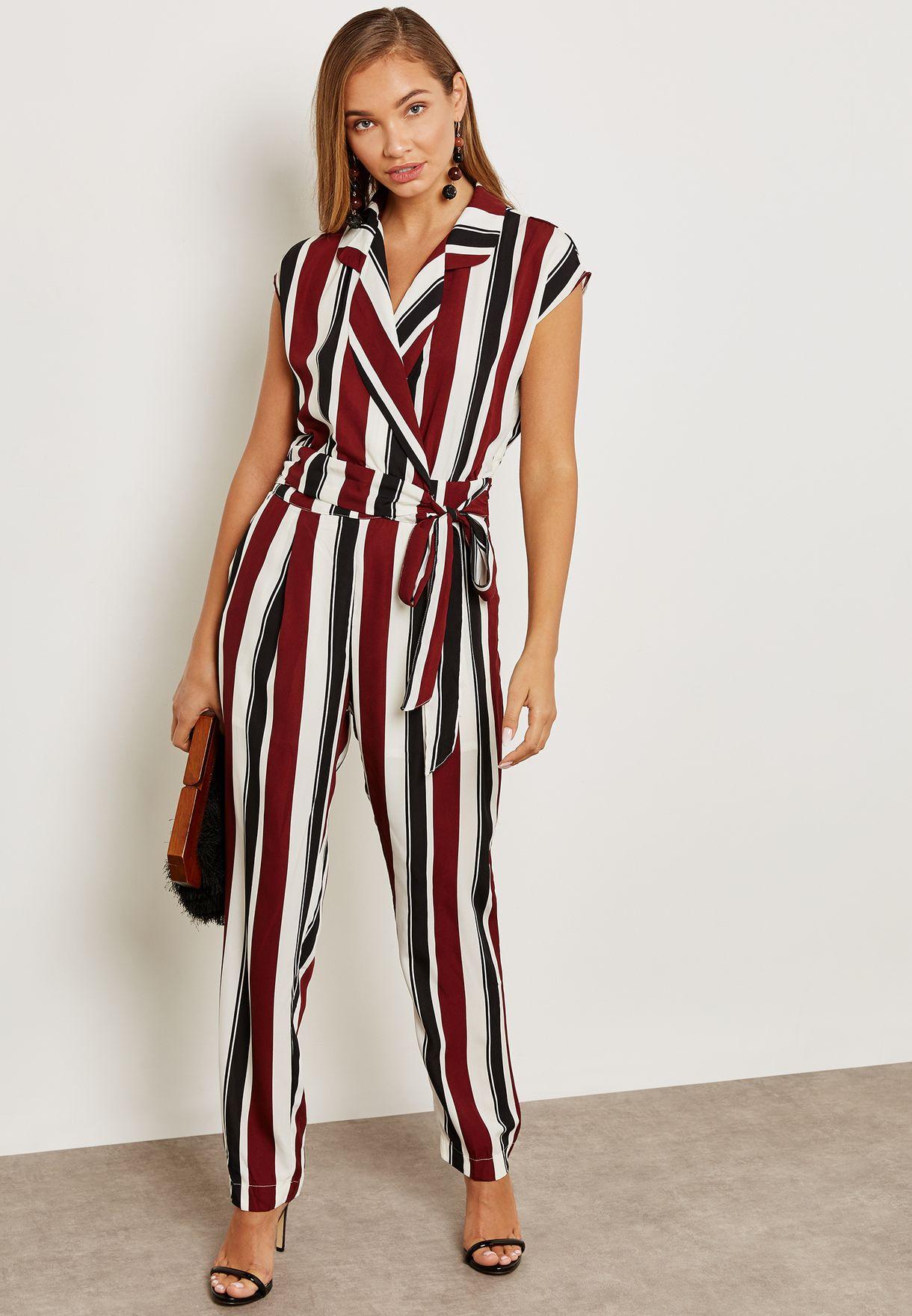 479298c77b74 Shop Ella prints Striped Wrap Front Jumpsuit 7450NCB for Women in Qatar -  EL314AT83DFK