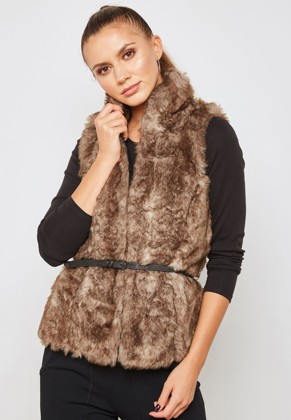 864a91f553b Shop Only brown Faux Fur Sleeveless Jacket 15161245 for Women in UAE ...
