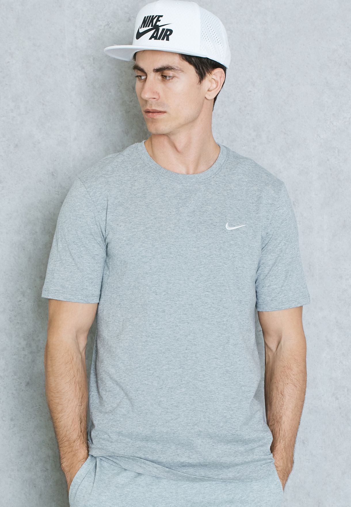 70c20047 Shop Nike grey Embroidery Swoosh T-Shirt 707350-063 for Men in Oman ...