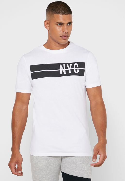 Nyc Chest Print  Crew Neck T-Shirt