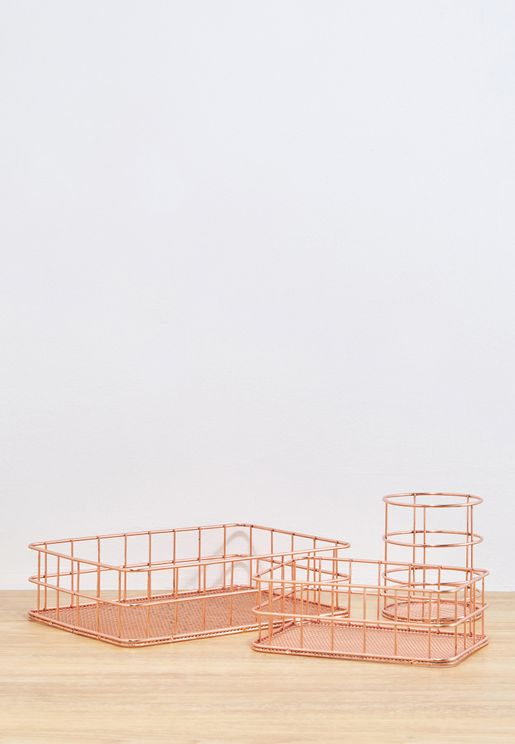 Rose Gold Wire Organiser Set