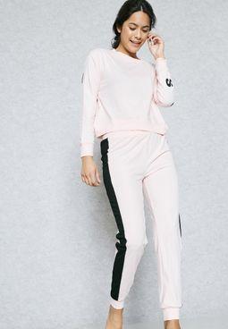 Contrast Stripe Pyjama Set