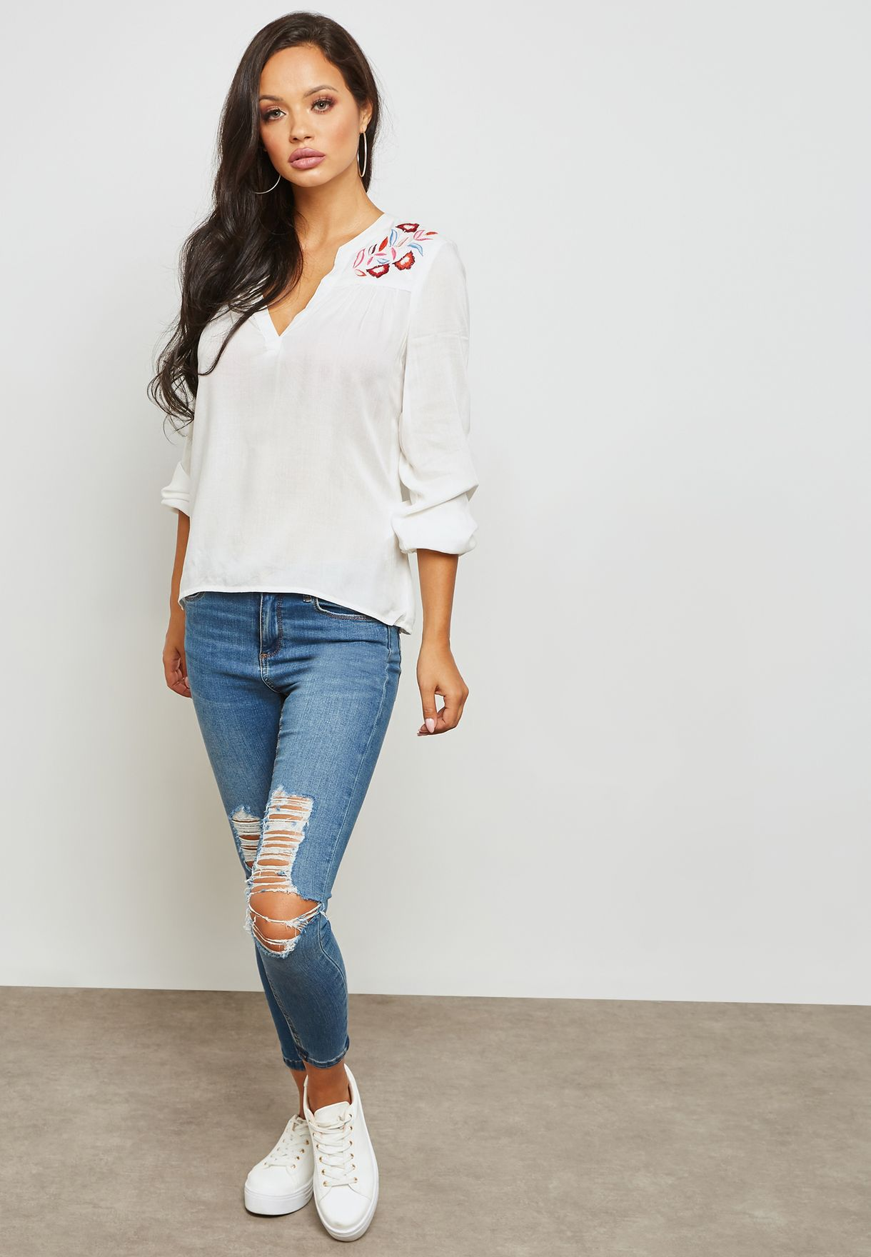 Embroidered Split Neck Top