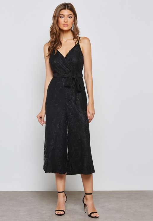 Wrap Front Tie Lace Cropped Jumpsuit