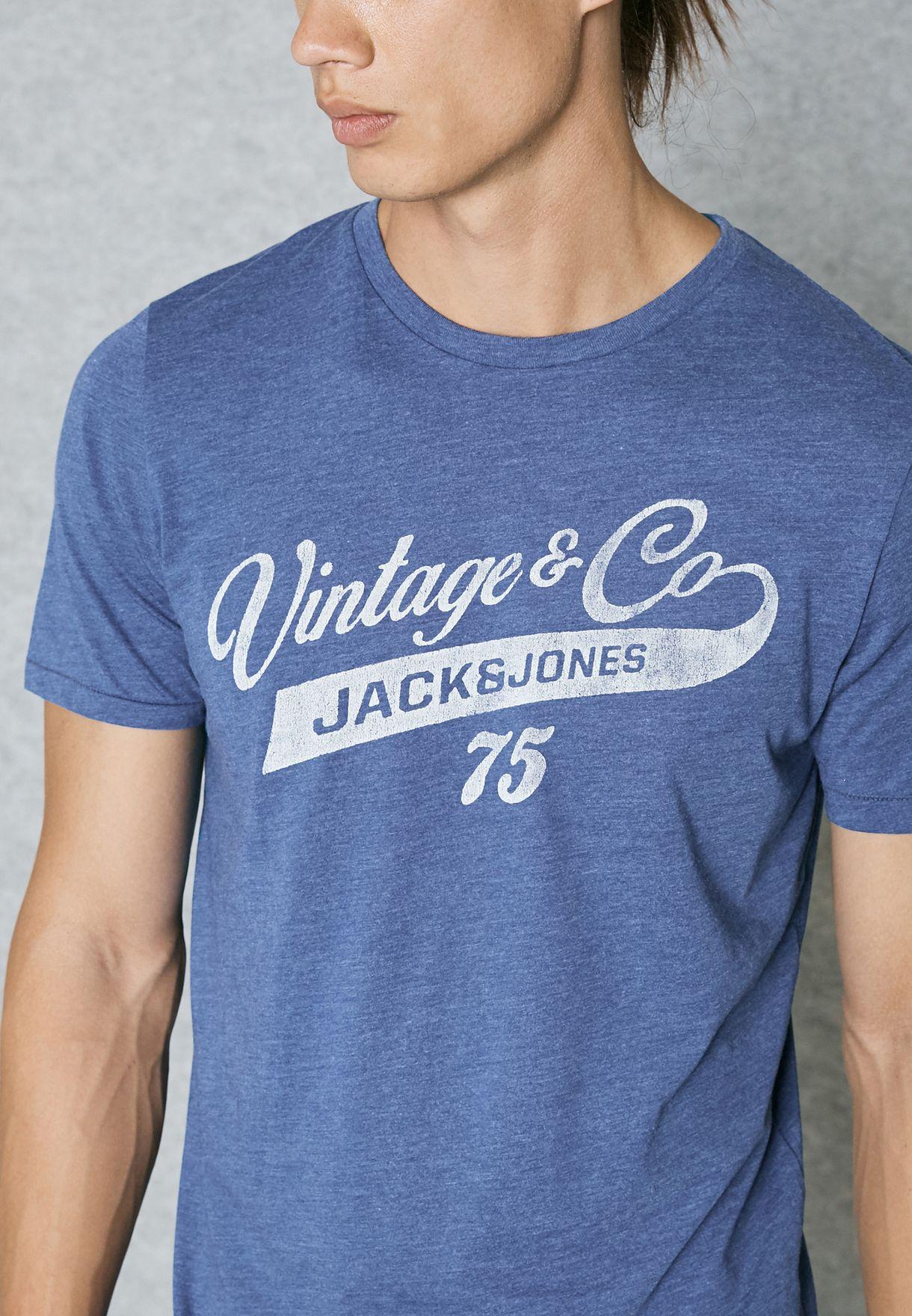 3cbea7910038 Shop Jack Jones blue Recycle Langham T-Shirt 12119876 for Men in ...