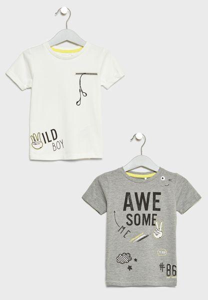 2 Pack Slogan T-Shirts