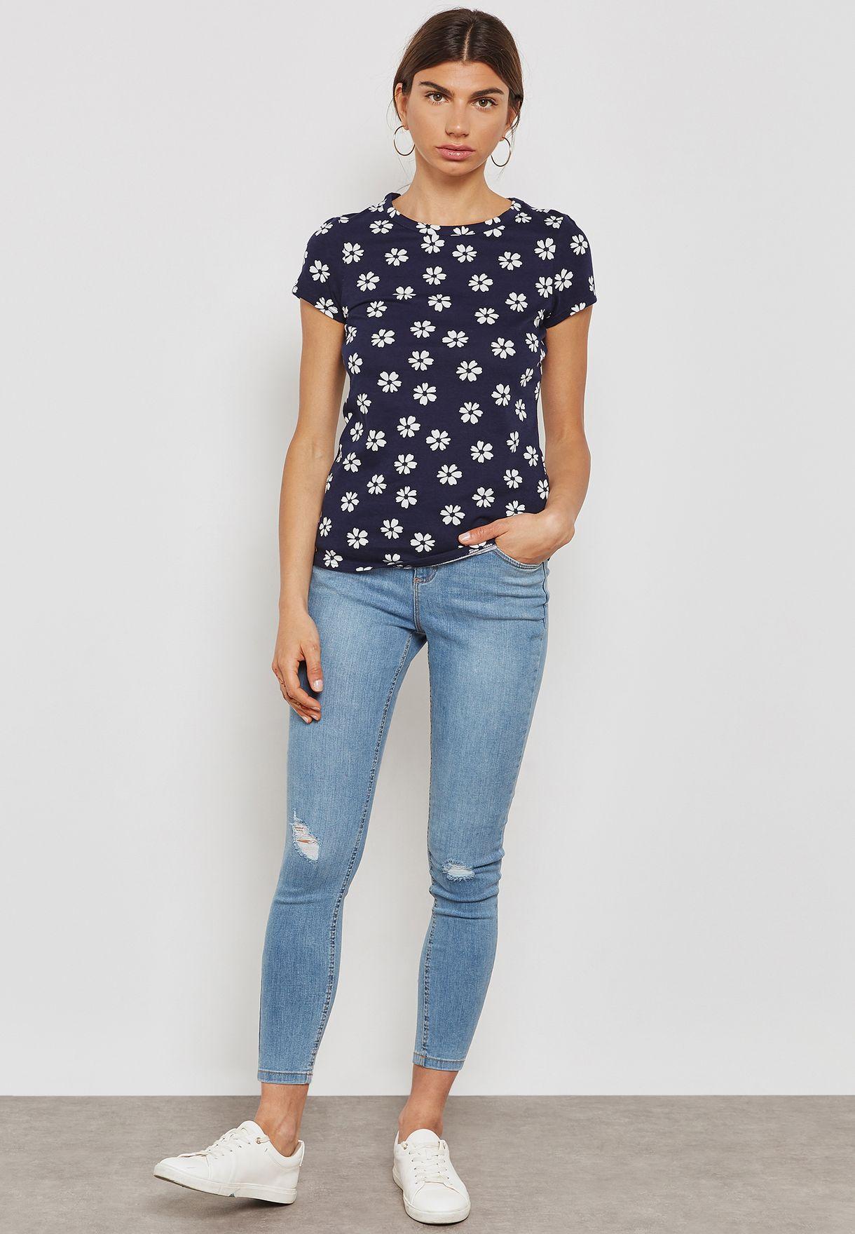 Geometric Floral Print T-Shirt