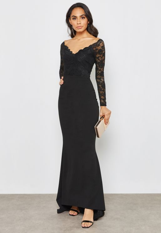 Lace Long Sleeve Bardot Fishtail Dress