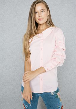 Puffed Sleeve One Shoulder Shirt