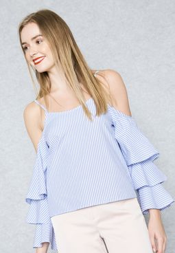 Layered Sleeve Cold Shoulder Top
