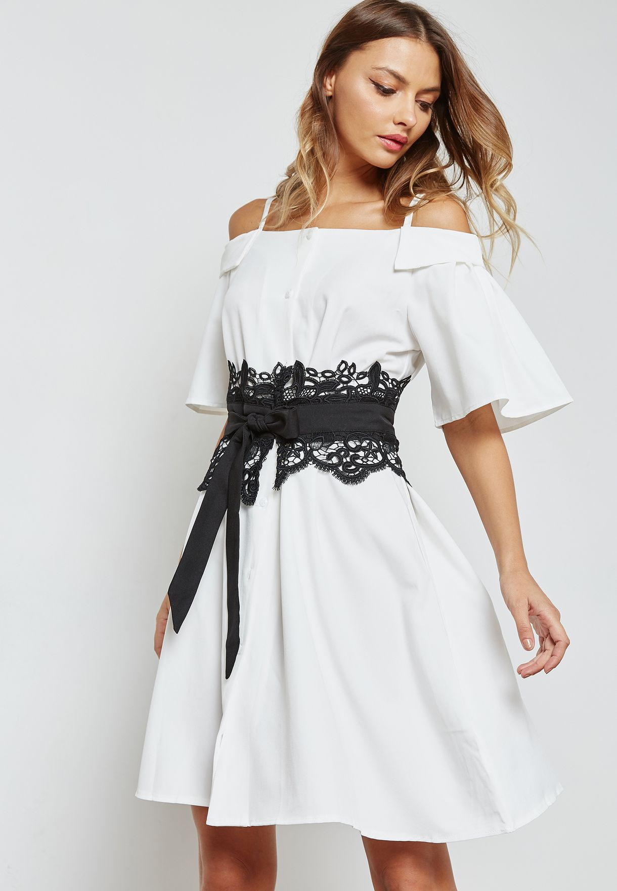 4538e420a Shop Ella white Contrast Belted Cold Shoulder Dress 906  for Women ...