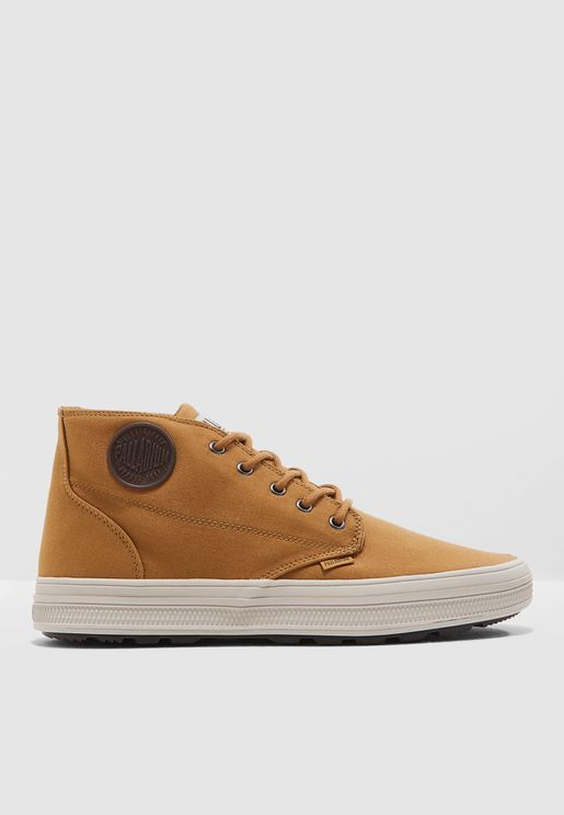 Brown Canvas Mid Boots