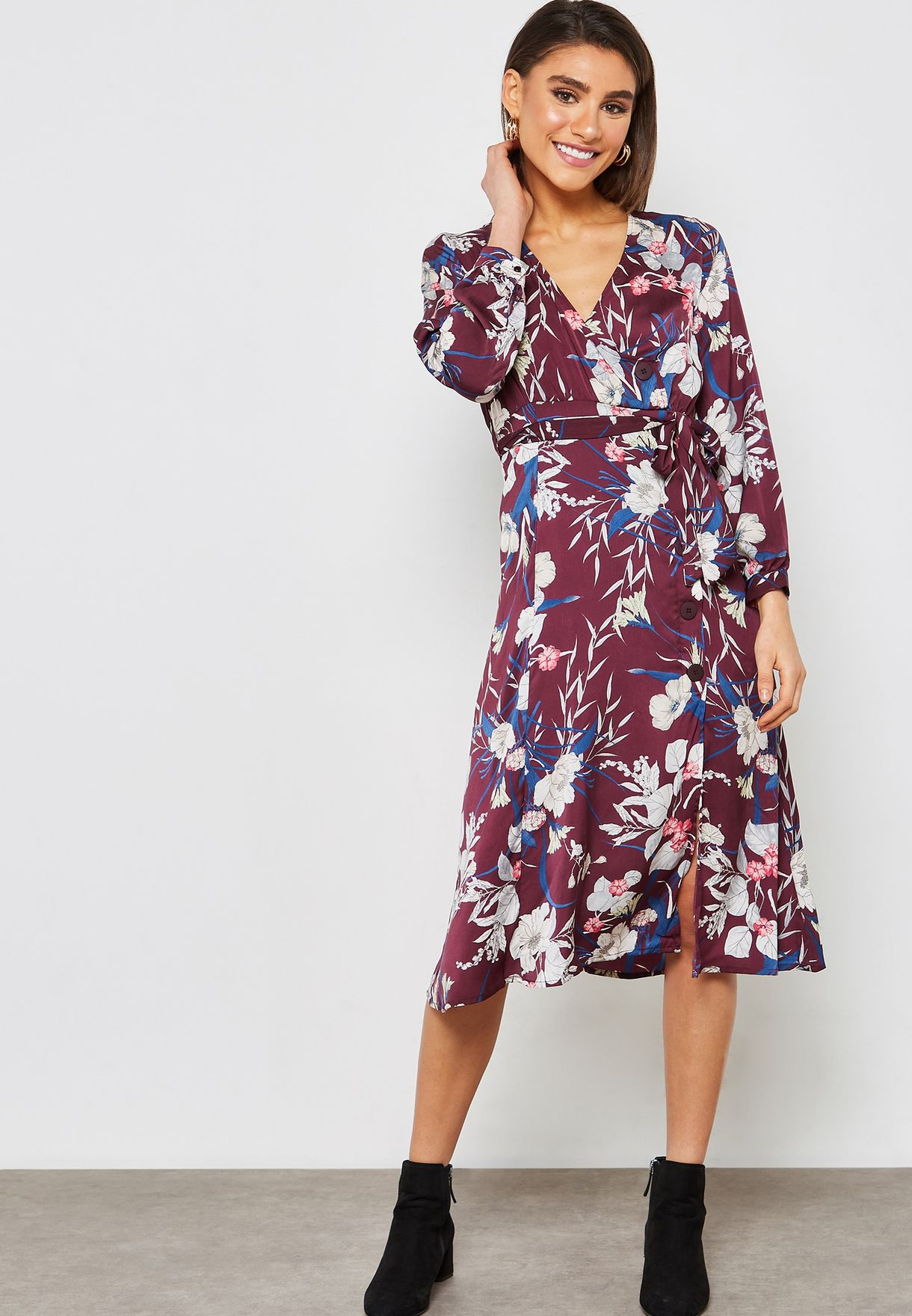 39f5c6aa477c Shop Koton prints Floral Print Wrap Dress 9KAK83161EWBORDEUX DESIGN ...