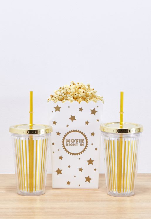 Popcorn Bucket With 2 Glasses