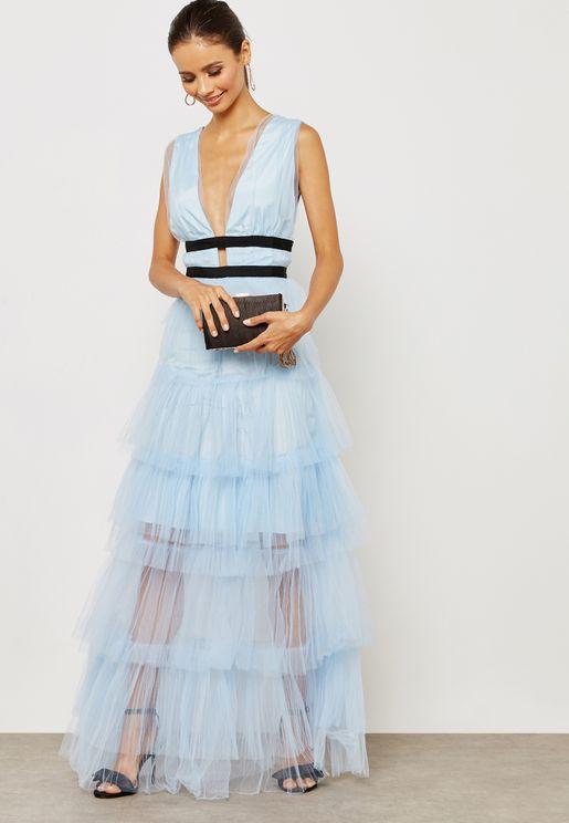 Plunge Contrast Waist Dress