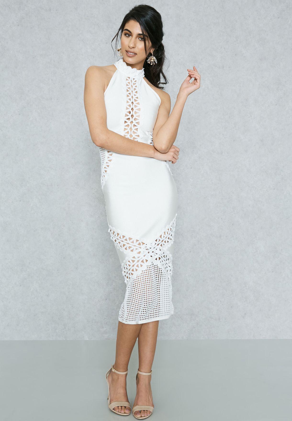dd810b9b2e2c Shop Missguided white High Neck Lace Bodycon Dress DE911121 for ...