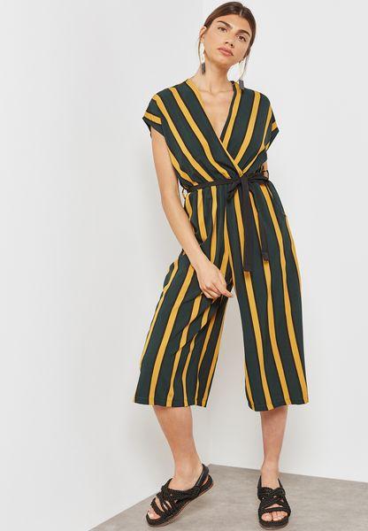 Striped Wrap Front Tie Culotte Jumpsuit