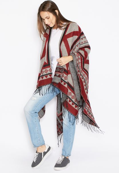 Printed Fringed Cape