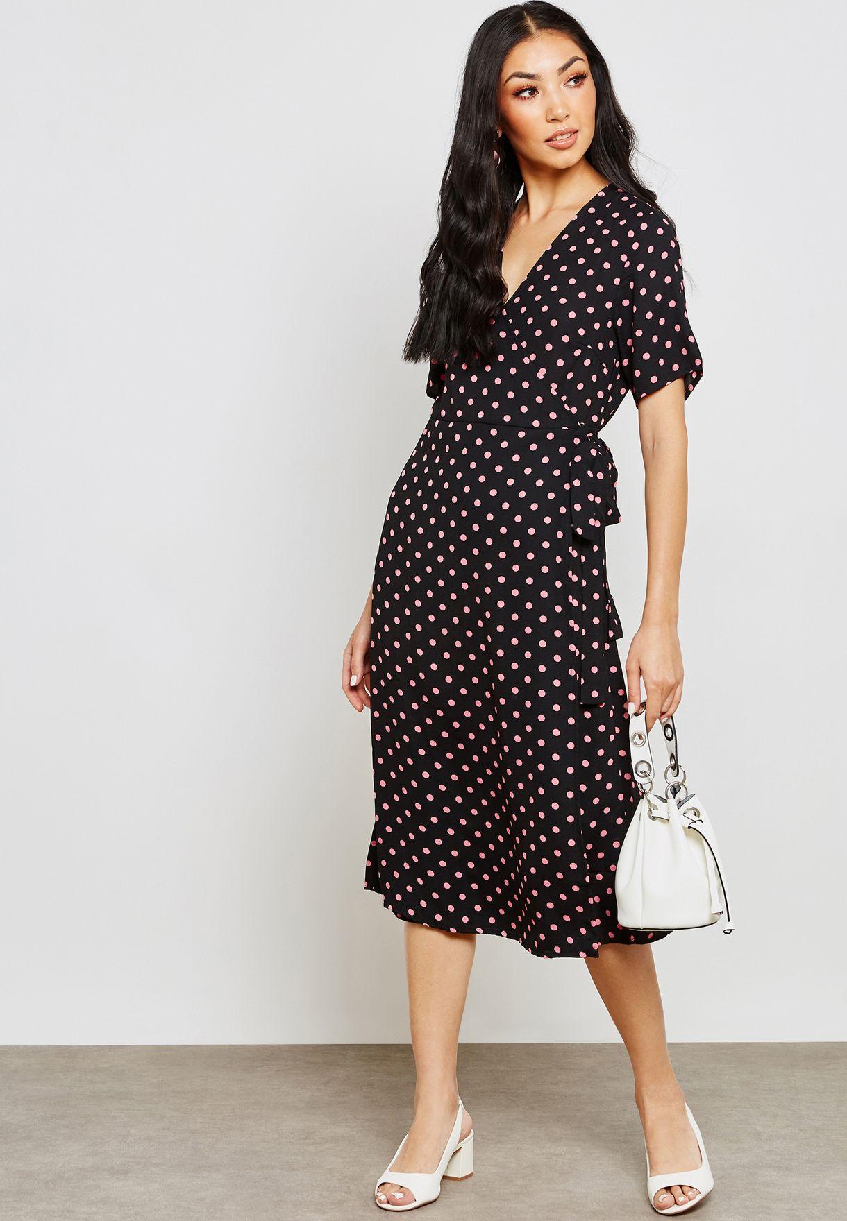 7e89888fdc4 Shop Vila prints Side Tie Waist Wrap Printed Dress 14052766 for ...