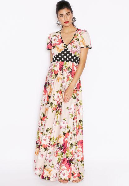 Floral Print Contrast Paneled Dress