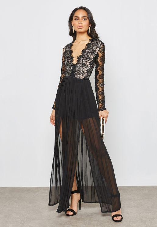 Front Split Lace Plunge Maxi Dress