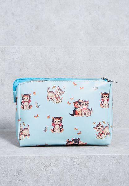Retro Kitten Makeup Bag