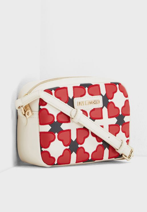 Checked Heart Cosmetic Bag