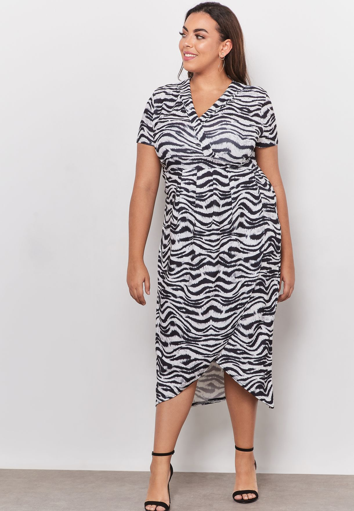 d4987018f4 Shop Quiz Curve prints Zebra Print Wrap Short Sleeve Dress ...