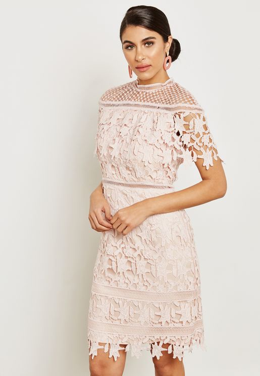 High Neck Overlay Lace Dress