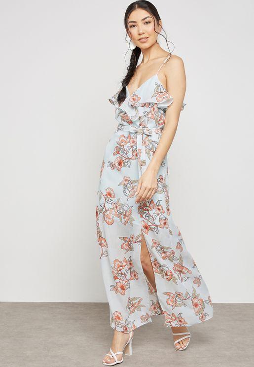 فستان مكسي بطبعات ازهار