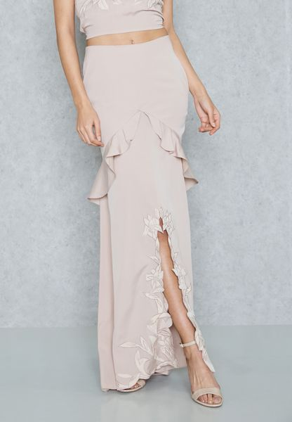 Embroidered Frill Detail Satin Maxi Skirt