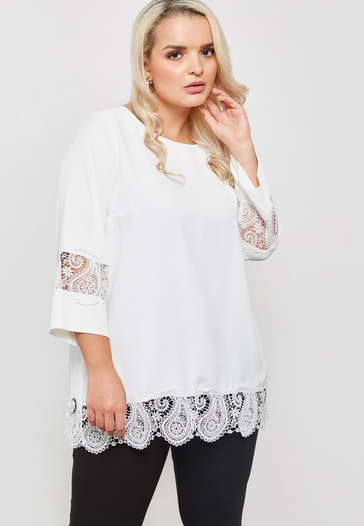 Lace Hem Long Sleeve Top