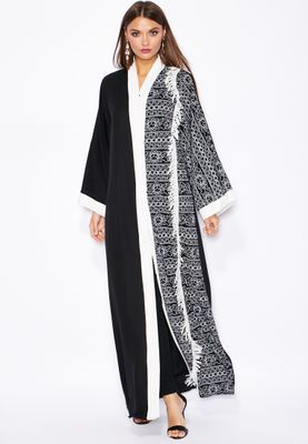 Haya's Closet One Side Printed Lace Fringed Abaya