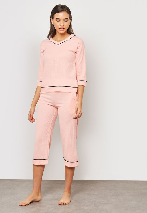 Contrast Piping Cropped Pyjama Set