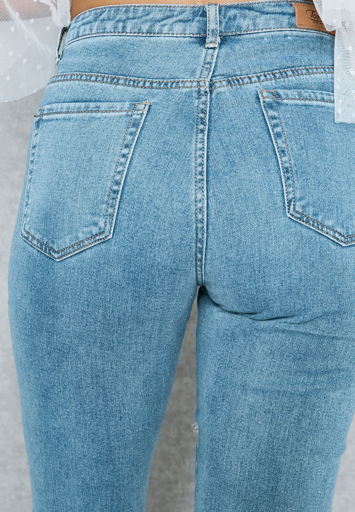 5c069af3339 Shop Ginger blue Pearl Net Insert Ripped Mom Jeans L968 for Women in ...