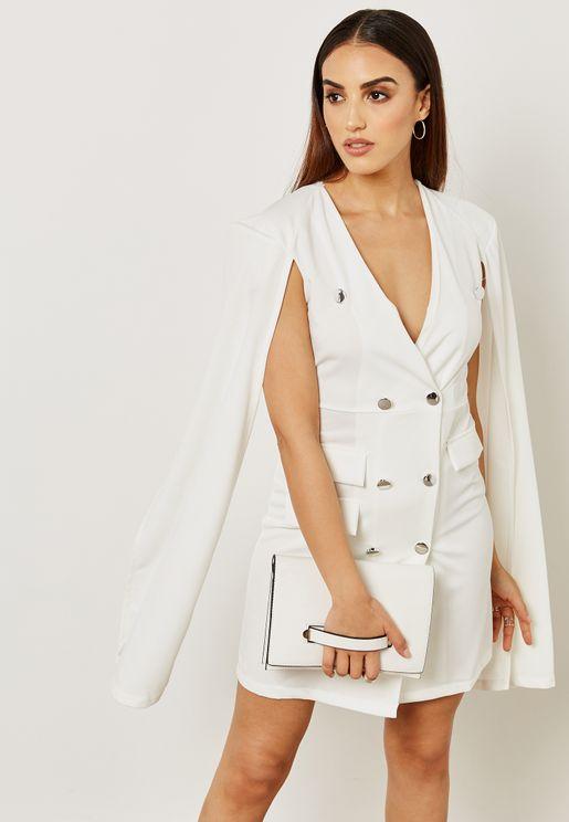 فستان بنمط جاكيت بأزرار مزدوجة