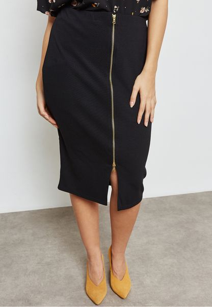 Pencil Skirt With Zip Front