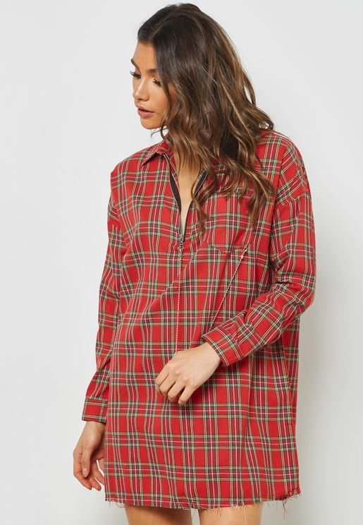 Checked Oversized Long Sleeve Mini Shirt Dress