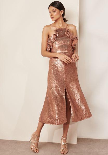 Ruffle Detail High Neck Sequin Dress