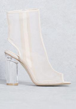 Alisa Peeptoe Perspex Heeled Boots in Nude Mesh