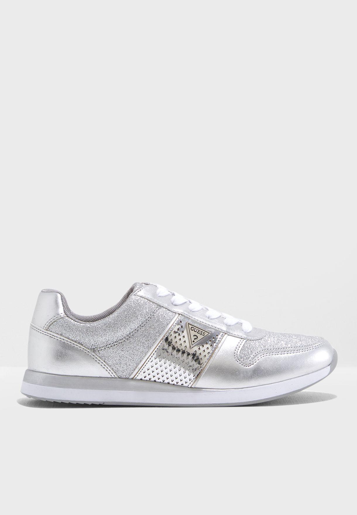 1926c9144c27 Shop Guess silver Skyla Lace Up Sneakers WGSKYLA2‐B for Women in ...
