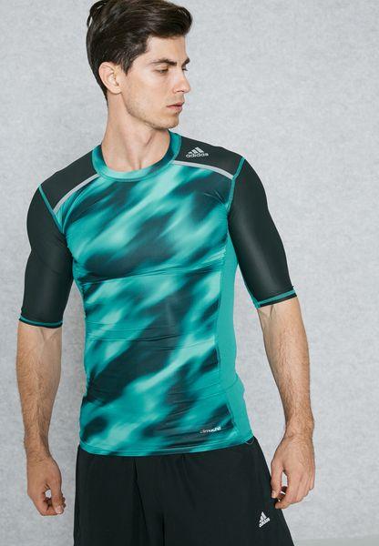 Shop adidas blue TechFit Graphic T-Shirt BK3551 for Men in Saudi -  AD476AT73HQO
