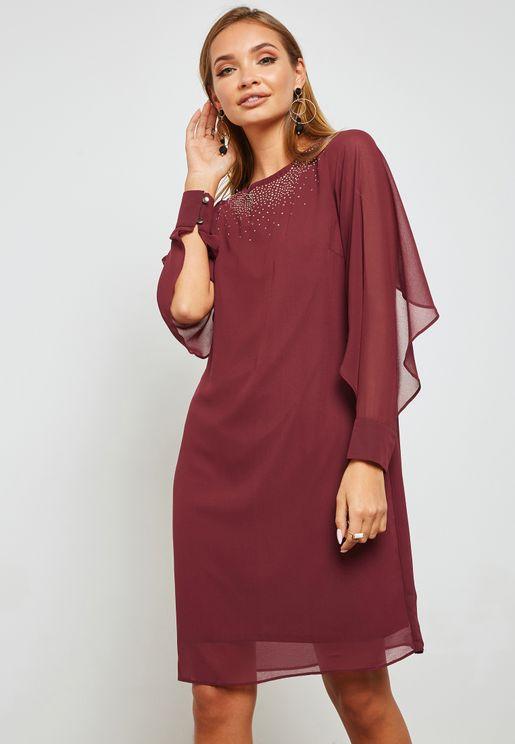 Sleeve Cut Out Embellished Dress