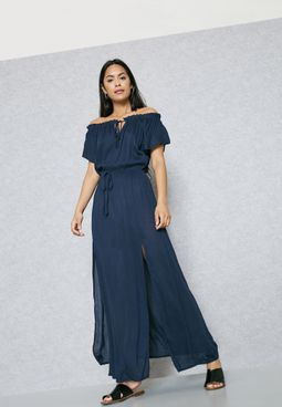 Tie Bardot Double Slit Maxi Dress