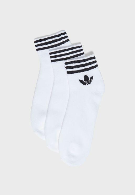 3 Pack Trefoil Ankle Socks